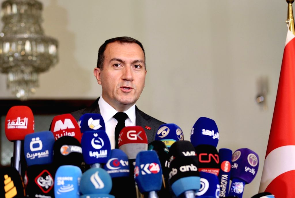 BAGHDAD, June 5, 2018 - Turkish Ambassador to Iraq Fatih Yildiz speaks at a press conference in Baghdad, Iraq, on June 5, 2018. Fatih Yildiz Tuesday confirmed that Iraq should not fear from the ...