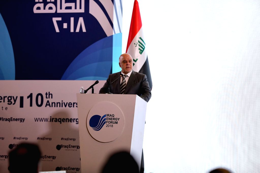 BAGHDAD, March 28, 2018 - Iraqi Prime Minister Haider al-Abadi speaks during the opening ceremony of the Iraq Energy Forum in Baghdad, Iraq, March 28, 2018. - Haider