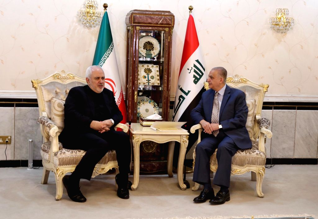 BAGHDAD, May 26, 2019 - Iraqi Foreign Minister Mohammed al-Hakim (R) holds talks with his Iranian counterpart Mohammad Jawad Zarif in Baghdad, Iraq, May 26, 2019. Iraq said on Sunday that it opposes ... - Mohammed