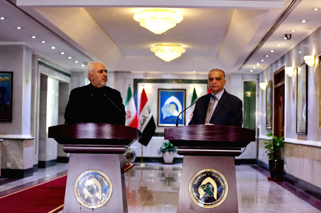 BAGHDAD, May 26, 2019 - Iraqi Foreign Minister Mohammed al-Hakim (R) and his Iranian counterpart Mohammad Jawad Zarif attend a joint press conference in Baghdad, Iraq, May 26, 2019. Iraq said on ... - Mohammed