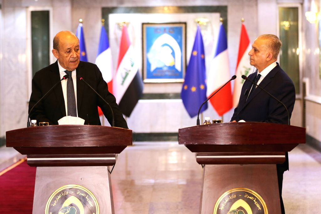 BAGHDAD, Oct. 17, 2019 - Iraqi Foreign Minister Mohammed al-Hakim (R) and his French counterpart Jean Yves Le Drian attend a joint press conference in Baghdad, Iraq, on Oct. 17, 2019. Iraqi Foreign ... - Mohammed
