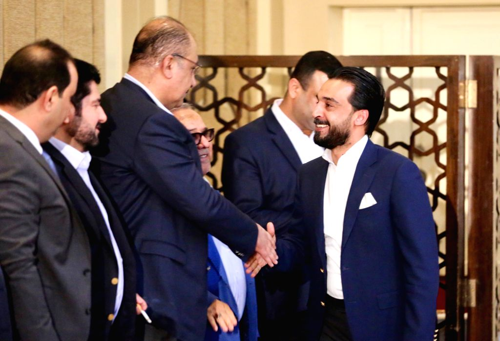 BAGHDAD, Sept. 14, 2018 - Mohammed al-Halbousi (1st R) attends a press conference in Baghdad, Iraq, on Sept. 14, 2018. The Sunni parliamentary bloc National Axis Coalition on Friday nominated former ...