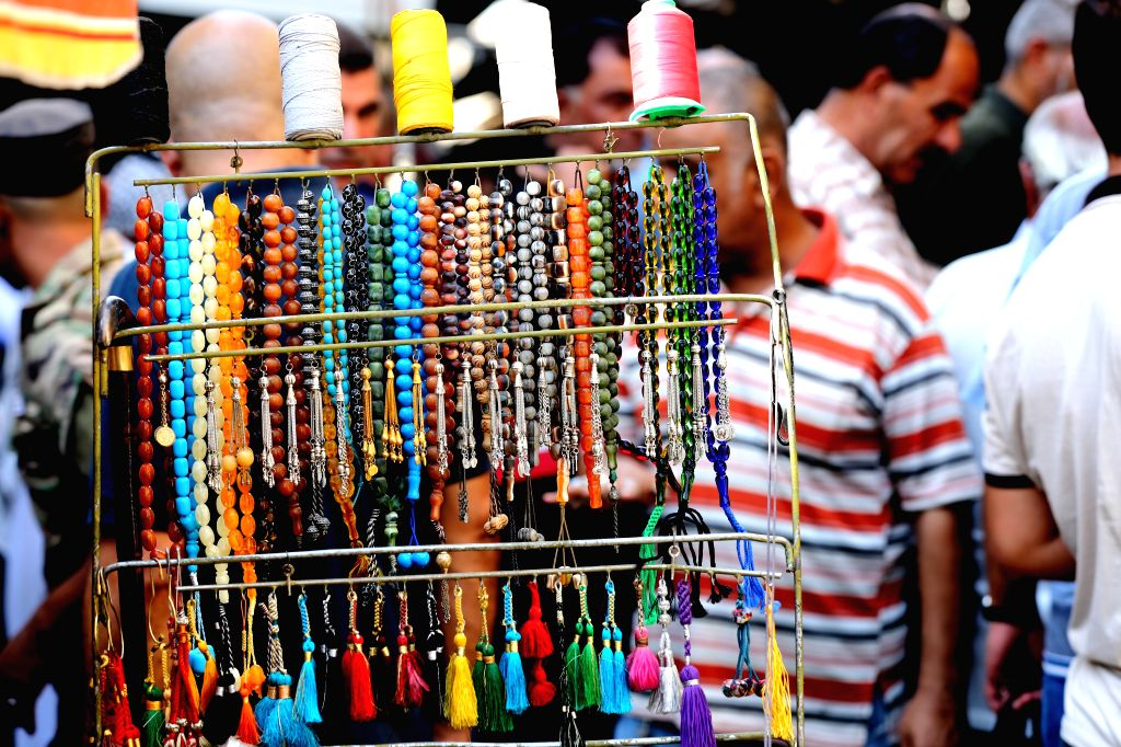BAGHDAD, Sept. 20, 2019 - Colorful rosaries are displayed at a market in Baghdad, Iraq on Sept. 13, 2019. The rosaries market in downtown Baghdad is renowned for offering rare gemstones and rosaries.