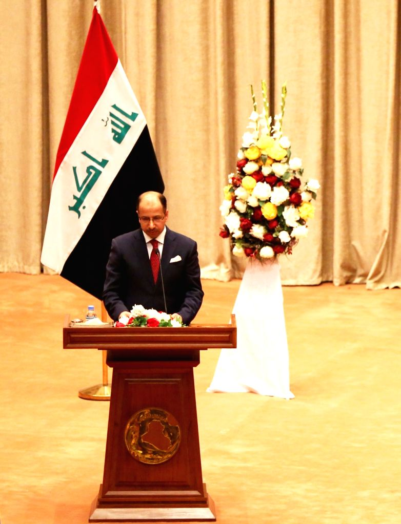 BAGHDAD, Sept. 3, 2018 - Outgoing Iraqi Parliament Speaker Salim al-Jubouri delivers a speech at the opening session of the newly elected parliament in Baghdad, Iraq, on Sept. 3, 2018. Iraq's newly ... - Salim