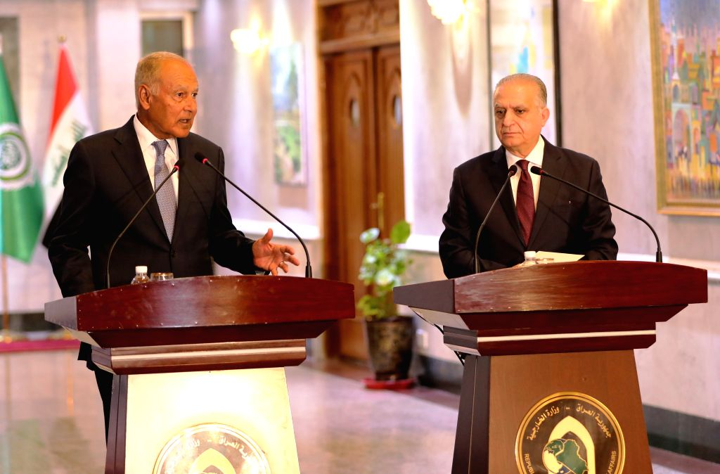 BAGHDAD, Sept. 3, 2019 - Arab League Secretary-General Ahmed Aboul-Gheit (L) and Iraqi Foreign Minister Mohammed al-Hakim attend a joint press conference in Baghdad, Iraq, on Sept. 3, 2019. Iraqi ... - Mohammed