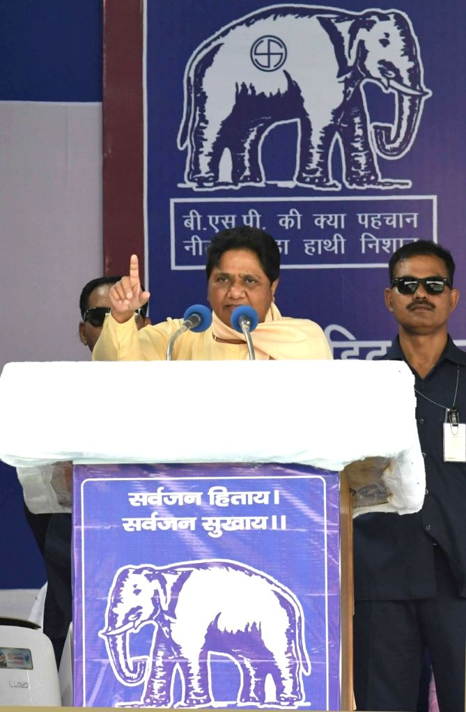 Bahujan Samaj Party (BSP) chief Mayawati addresses a public rally in New Delhi, on May 10, 2019.
