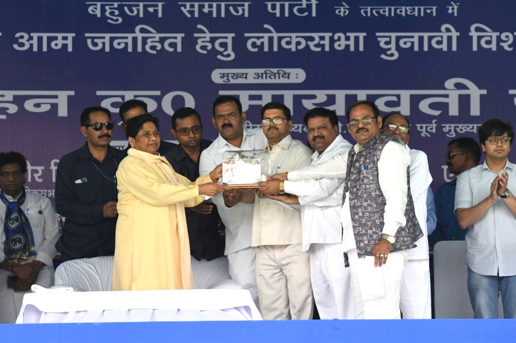 Bahujan Samaj Party (BSP) chief Mayawati being welcomed by party workers during a public rally in New Delhi, on May 10, 2019.