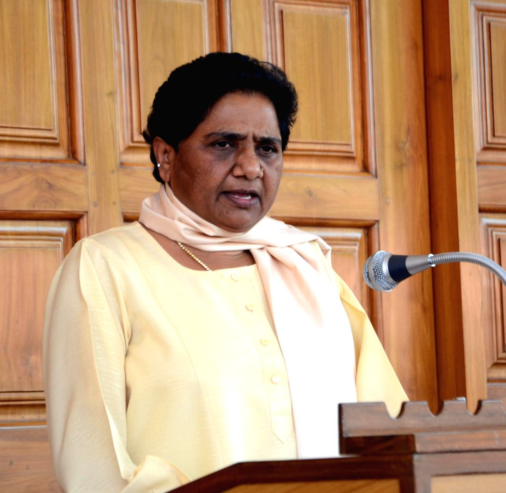 Bahujan Samaj Party (BSP) chief Mayawati during a press conference at her residence in Lucknow on May 9, 2014.