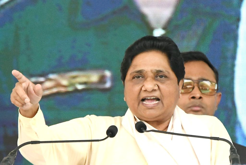 Bahujan Samaj Party (BSP) supremo Mayawati addresses during an election campaign rally in Mysuru on April 10, 2019.