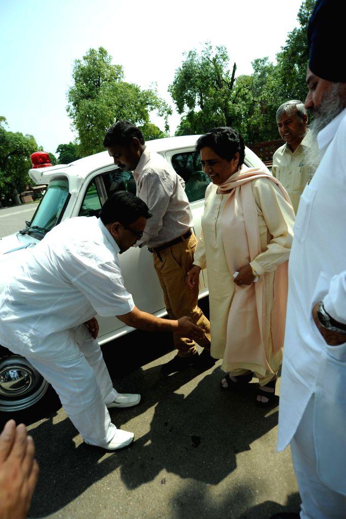 Bahujan Samaj Party (BSP) supremo Mayawati arrives at the Parliament in New Delhi on Aug 12, 2014.