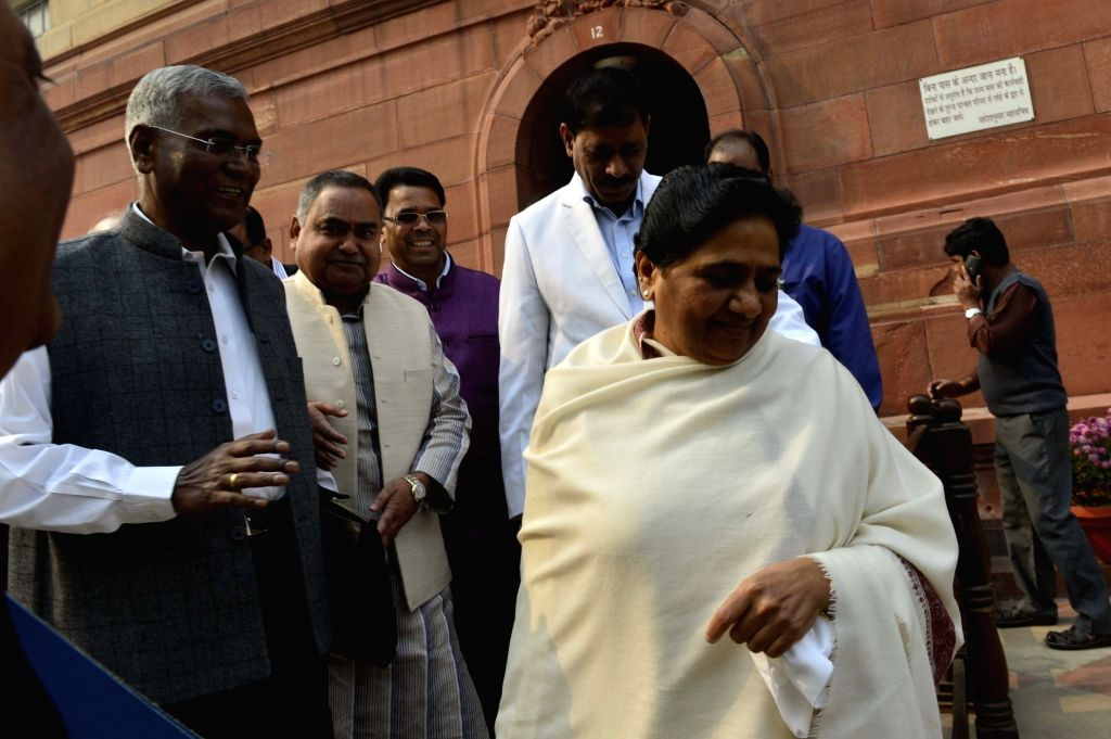 Bahujan Samaj Party supremo Mayawati at the Parliament in New Delhi on Nov 27, 2015.