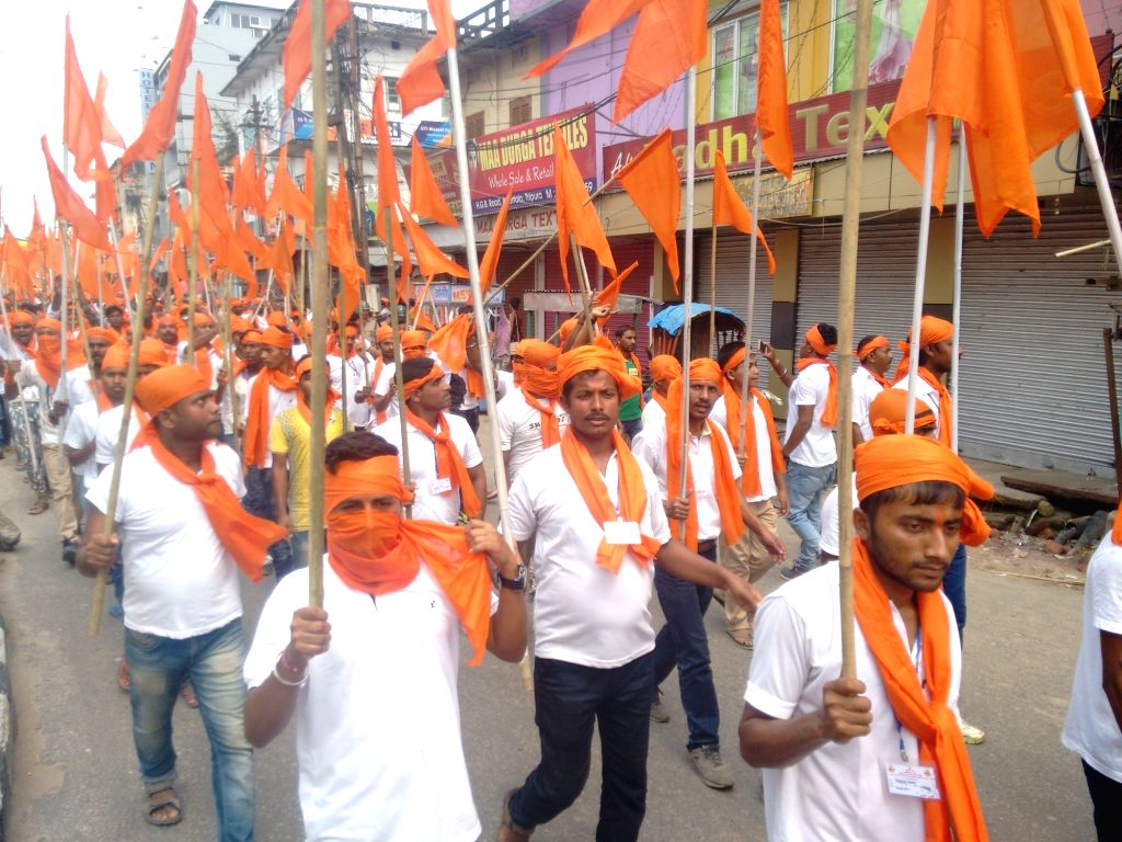 Bajrang Dal activists participate in a rally against cattle smuggling in Agartala on April 30, 2017.