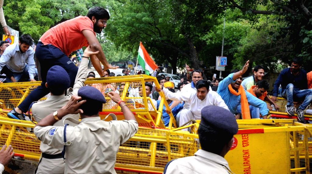 Bajrang Dal activists stage a demonstration against terror attack on pilgrims of Baba Budha Amarnath Yatra; in New Delhi on Aug 14, 2016.