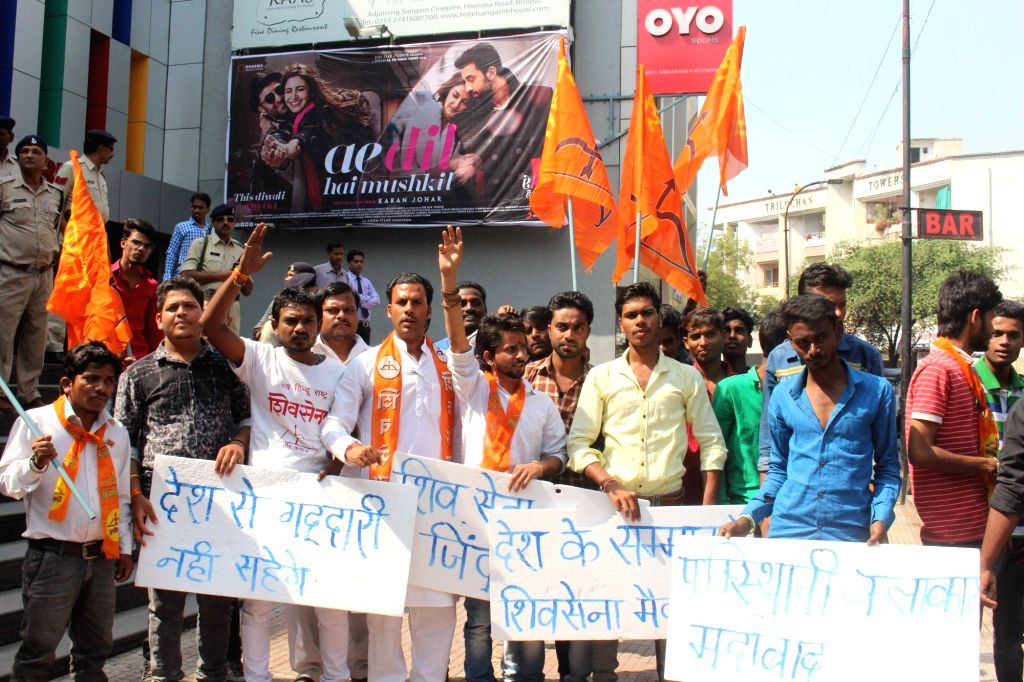 """Bajrang Dal activists stage a demonstration against Karan Johar's film """"Ae Dil Hai Mushkil"""" that features Pakistani actor Fawad Khan in Bhopal, on Oct 28, 2016. - Fawad Khan"""