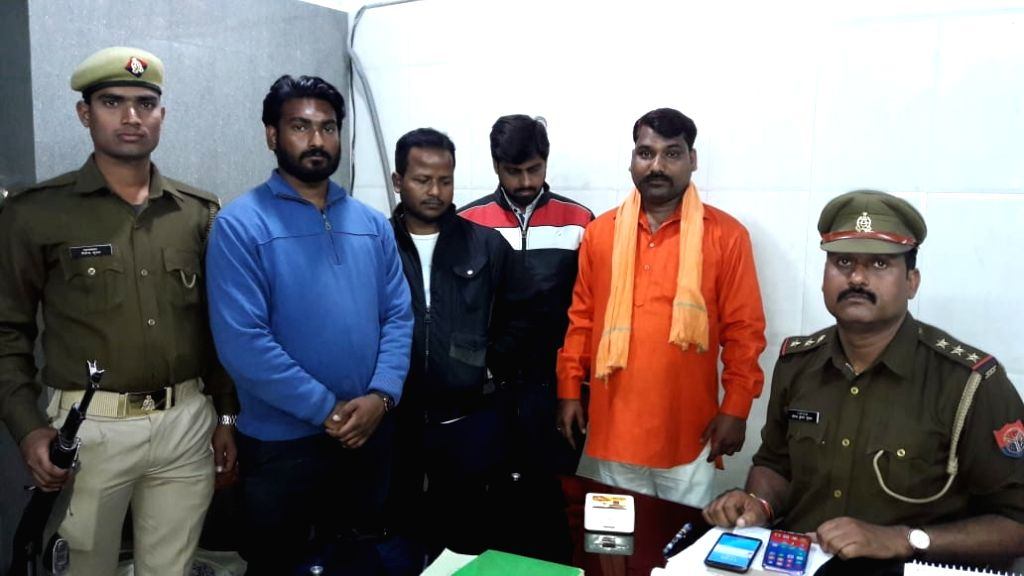 """Bajrang Sonkar, Amar, Himanshu and Anirrudh - the four accused of thrashing three Kashmiri dry fruit sellers after calling them """"stone-pelters"""" in Lucknow on March 8, 2019."""