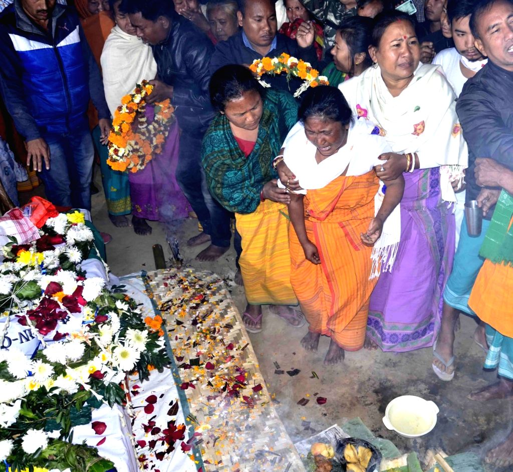 Baksa (Assam): Bereaved family members of Maneshwar Basumatary, one of the 49 CRPF personnel killed in a suicide attack by militants in Jammu and Kashmir's Pulwama district on 14th Feb 2019; in ...