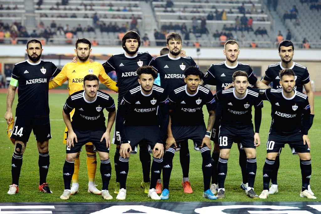 BAKU, Dec. 13, 2019 - Players of Azerbaijan's Qarabag line up for group photo before a UEFA Europa League Group A match between Azerbaijan's Qarabag and Luxembourg's Dudelange in Baku, Azerbaijan, ...