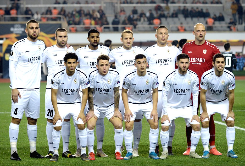 BAKU, Dec. 13, 2019 - Players of Luxembourg's Dudelange line up for group photo before a UEFA Europa League Group A match between Azerbaijan's Qarabag and Luxembourg's Dudelange in Baku, Azerbaijan, ...