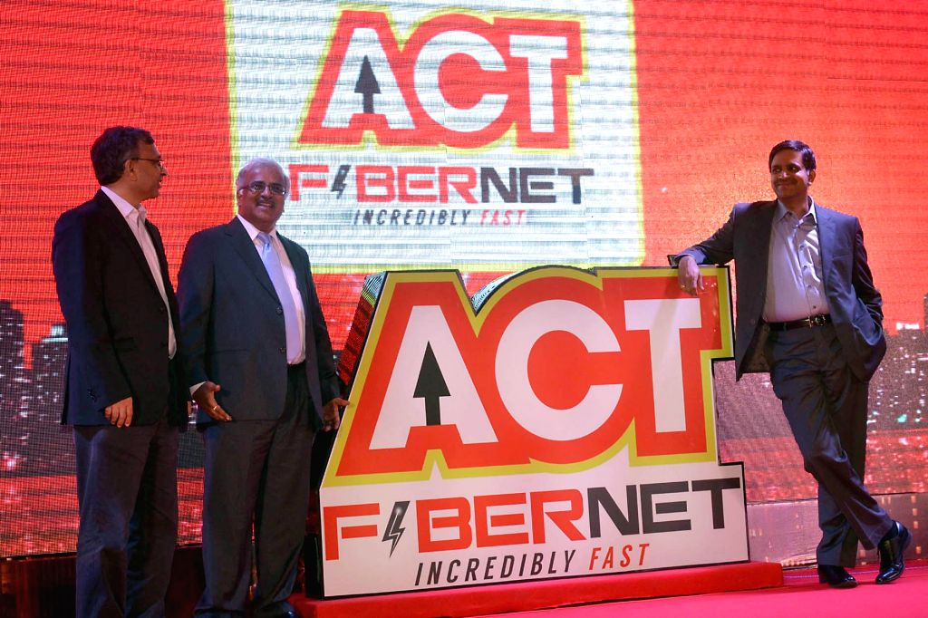 Bala Malladi, Chief Executive Officer with Pramod Kabra, IVF Advisors, CS Sunder Raju, Director, The Atria and others seen launching the ACT Fibernet, incredibly fast 60 Mbps plan, during the press ..
