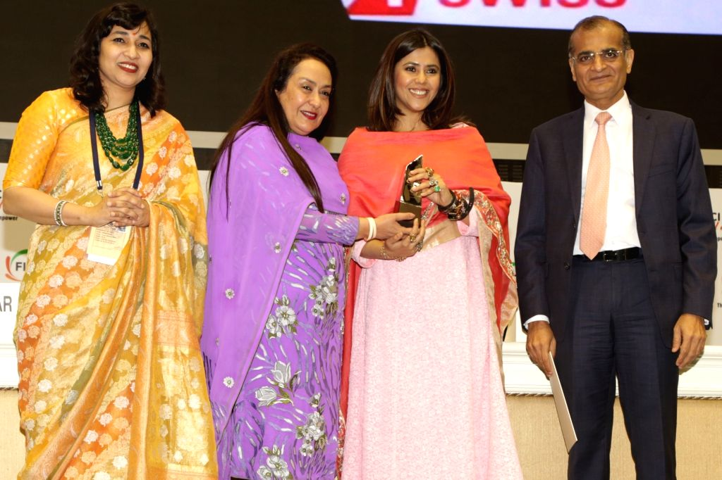 Balaji Telefilms Joint MD and Creative Director Ekta Kapur receives the FLO Icon Award during 34th Annual Session of FICCI Ladies Organisation (FLO) at Vigyan Bhavan in New Delhi on April ...