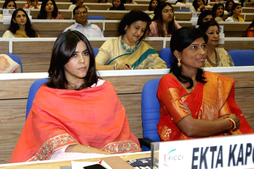 Balaji Telefilms Joint MD and Creative Director Ekta Kapur during the 34th Annual Session of FICCI Ladies Organisation (FLO) at Vigyan Bhavan in New Delhi on April 5, 2018.