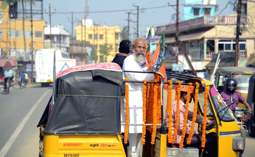 Balasore (Odisha): BJP's Lok Sabha candidate from Balasore, Pratap Sarangi holds a roadshow in an auto-rickshaw ahead of the 2019 Lok Sabha elections, in Odisha's Balasore, on April 26, 2019.