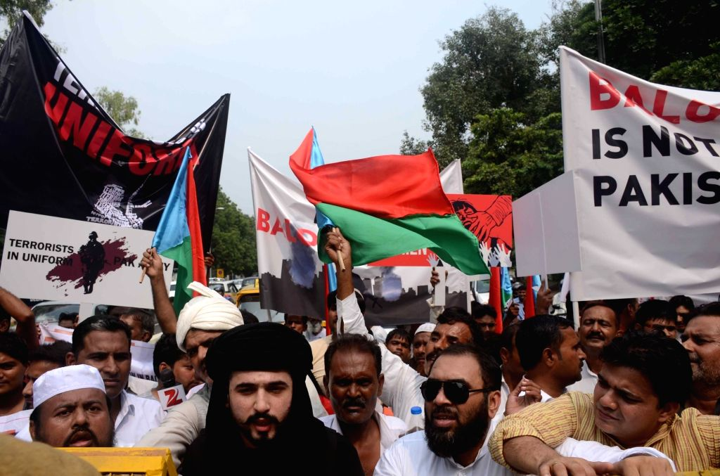 Baloch leaders stage a demonstration against Pakistan in New Delhi on Sept 29, 2016.