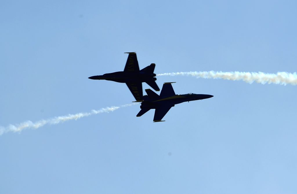 BALTIMORE, Oct. 15, 2016 - Planes of the U.S. Navy Blue Angels fly over Fort McHenry during the first Maryland Fleet Week & Air Show in Baltimore, Maryland, the United States, on Oct. 15, 2016. ...