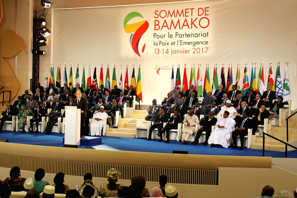 BAMAKO, Jan. 14, 2017 - French President Francois Hollande speaks during the opening ceremony of the 27th Africa-France Summit in Bamako, Mali, Jan. 14, 2017. African and French leaders kicked off a ...