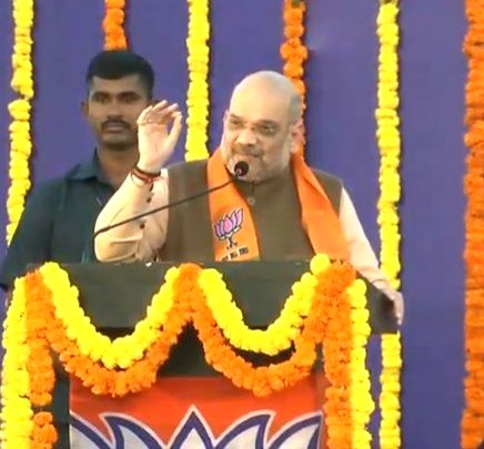 Bambolim: BJP chief Amit Shah addresses a party meeting in Goa's Bambolim, on Feb 9, 2019. (Photo: IANS/BJP) - Amit Shah