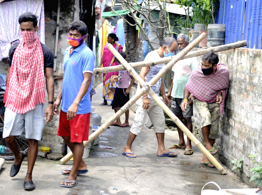 Bamboo sticks put up outside a locality at GC Block in Kolkata's Salt Lake during the extended nationwide lockdown imposed to mitigate the spread of coronavirus; on Apr 24, 2020.