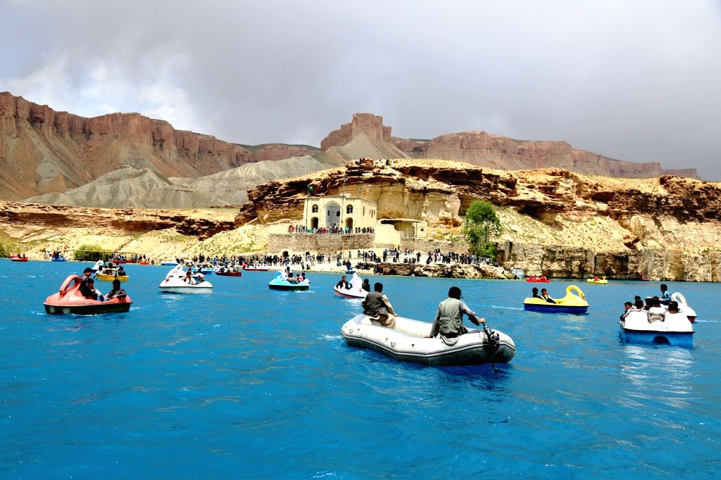 BAMYAN, June 4, 2016 - Afghans enjoy boating in the Band-e-Amir lake in Bamyan province, central Afghanistan, on June 3, 2016. Band-e-Amir lake was recognized as Afghanistan's first national park in ...