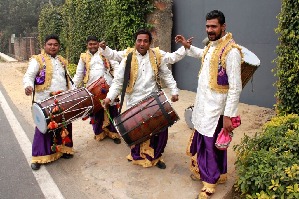 Band of drummers arrive at the venue of actress Asin and Micromax co-founder Rahul Sharma`s wedding in New Delhi on Jan 19, 2016.