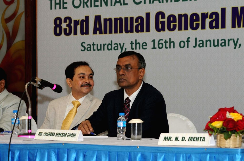 Bandhan Bank Founder-MD and CEO Chandra Shekhar Ghosh during the 83rd AGM of Oriental Chamber of Commerce in Kolkata, on Jan 16, 2016.