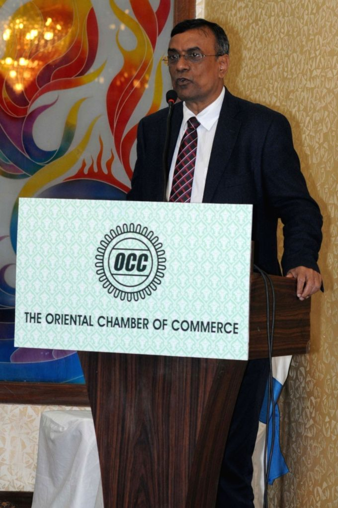 Bandhan Bank Founder-MD and CEO Chandra Shekhar Ghosh addresses during the 83rd AGM of Oriental Chamber of Commerce in Kolkata, on Jan 16, 2016.