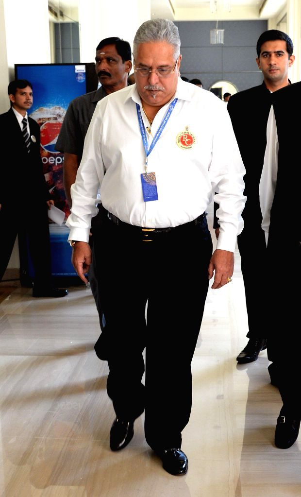 Co-owner of Royal Challengers Bangalore cricket team Vijay Mallya at the player auctions of the IPL 2015 edition in Bangalore, on Feb 16, 2015. - Vijay Mallya