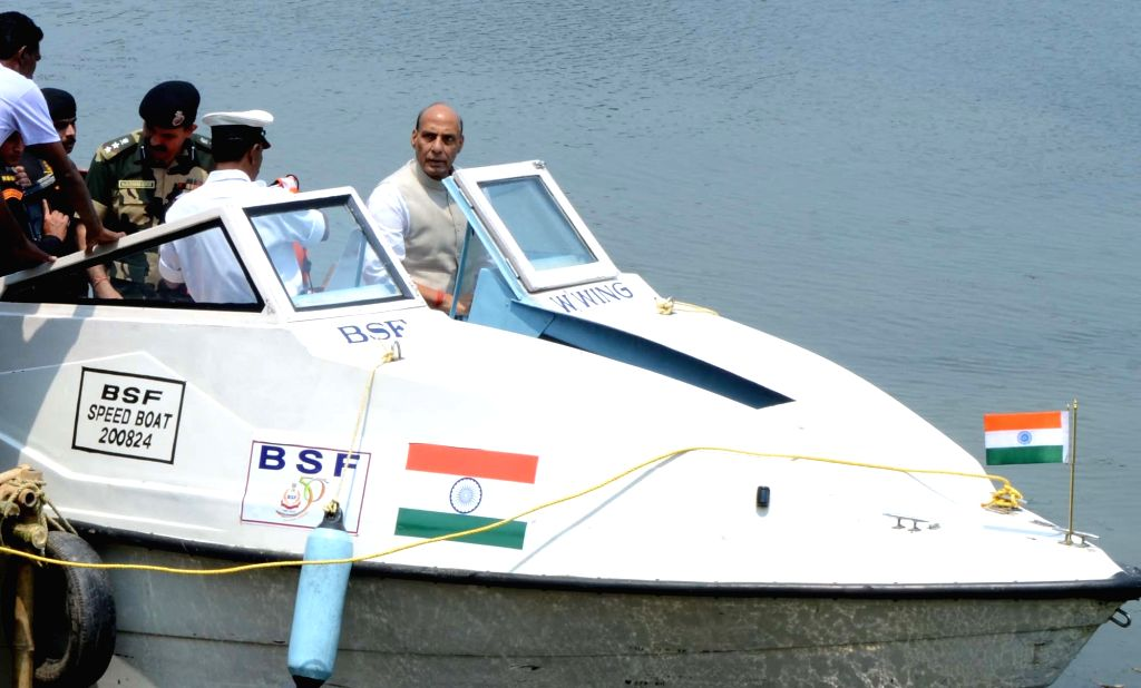 The Union Home Minister Rajnath Singh visits Indo-Bangladesh Border at Bangaon in West Bengal on April 1, 2015.