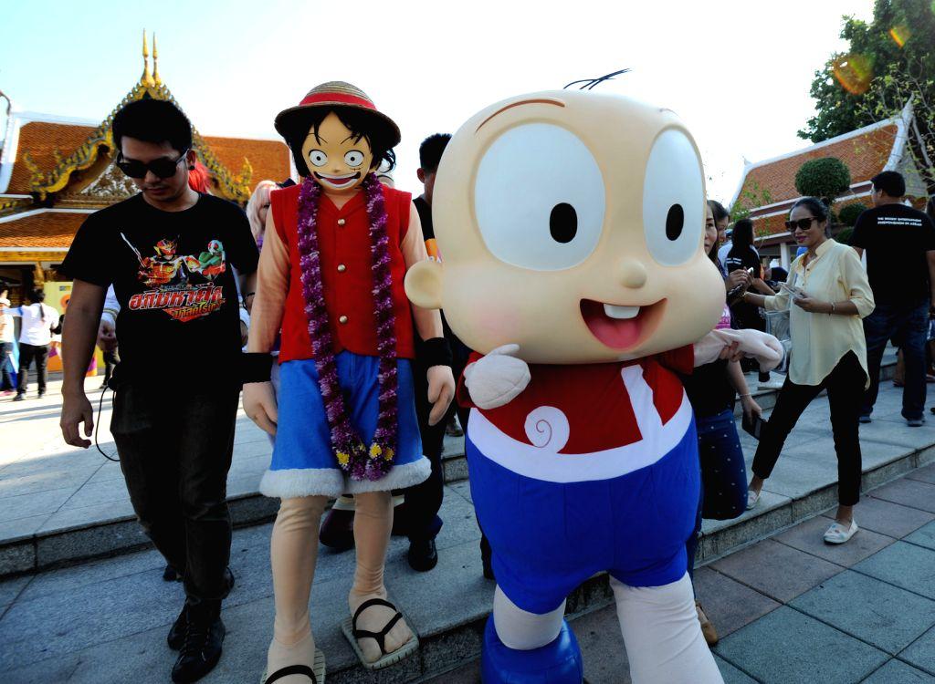 Mascots perform at a presentation of Bangkok Entertainment Week in Bangkok, Thailand, April 5, 2015. Bangkok Entertainment Week will be held in Bangkok from April ...