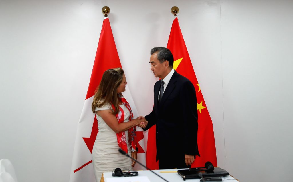 BANGKOK, Aug. 2, 2019 - Chinese State Councilor and Foreign Minister Wang Yi (R) meets with Canadian Minister of Foreign Affairs Chrystia Freeland in Bangkok, Thailand, Aug. 2, 2019. - Wang Y