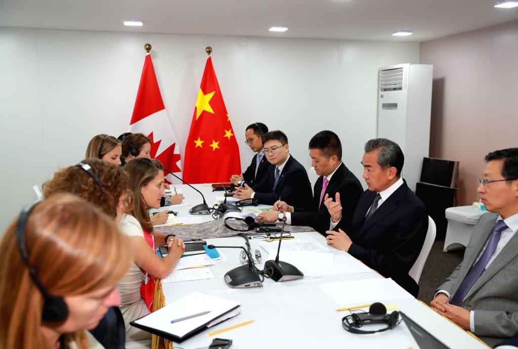 BANGKOK, Aug. 2, 2019 - Chinese State Councilor and Foreign Minister Wang Yi meets with Canadian Minister of Foreign Affairs Chrystia Freeland in Bangkok, Thailand, Aug. 2, 2019. - Wang Y