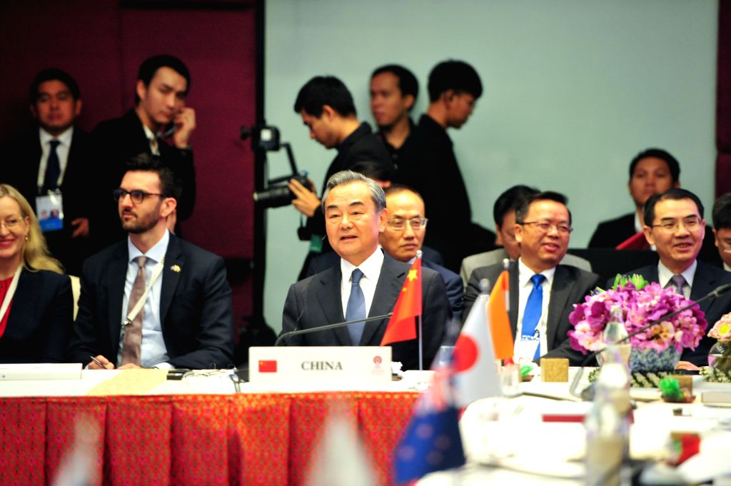 BANGKOK, Aug. 2, 2019 - Chinese State Councilor and Foreign Minister Wang Yi attends the 9th East Asia Summit Foreign Ministers' Meeting in Bangkok, Thailand, Aug. 2, 2019. - Wang Y