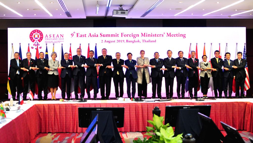 BANGKOK, Aug. 2, 2019 - Chinese State Councilor and Foreign Minister Wang Yi (7th R) attends the 9th East Asia Summit Foreign Ministers' Meeting in Bangkok, Thailand, Aug. 2, 2019. - Wang Y