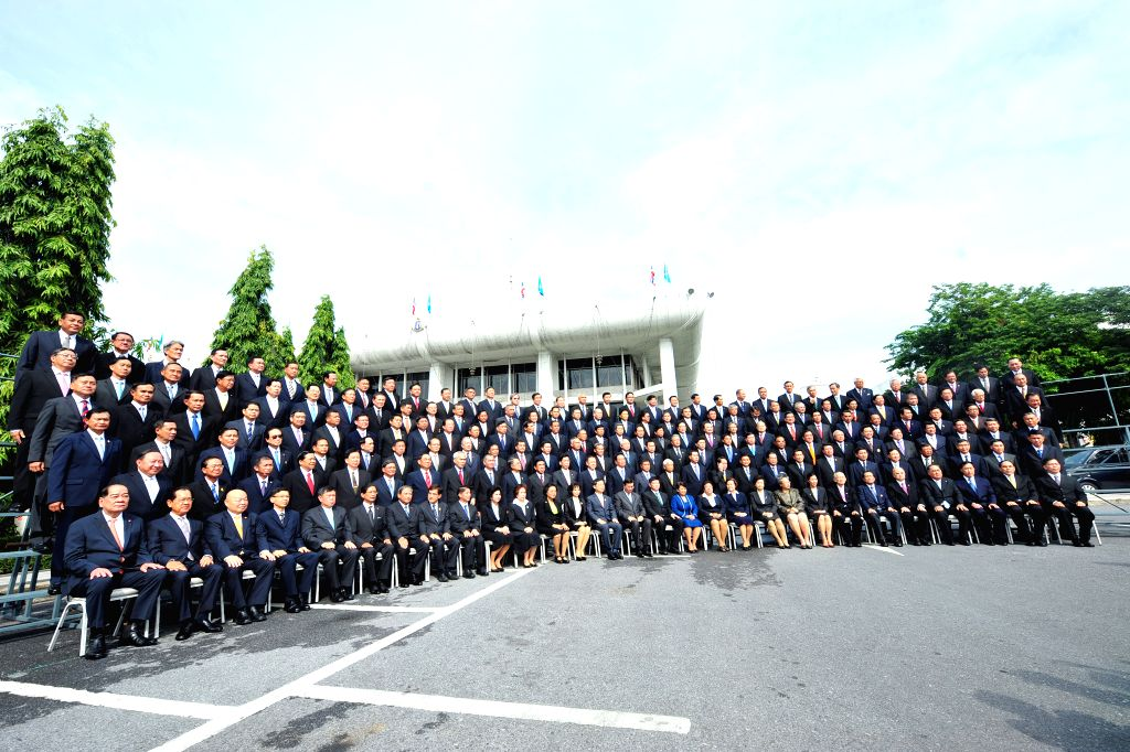 Members of National Legislative Assembly (NLA) pose for group photos at Parliament House in Bangkok, Thailand, Aug. 21, 2014.