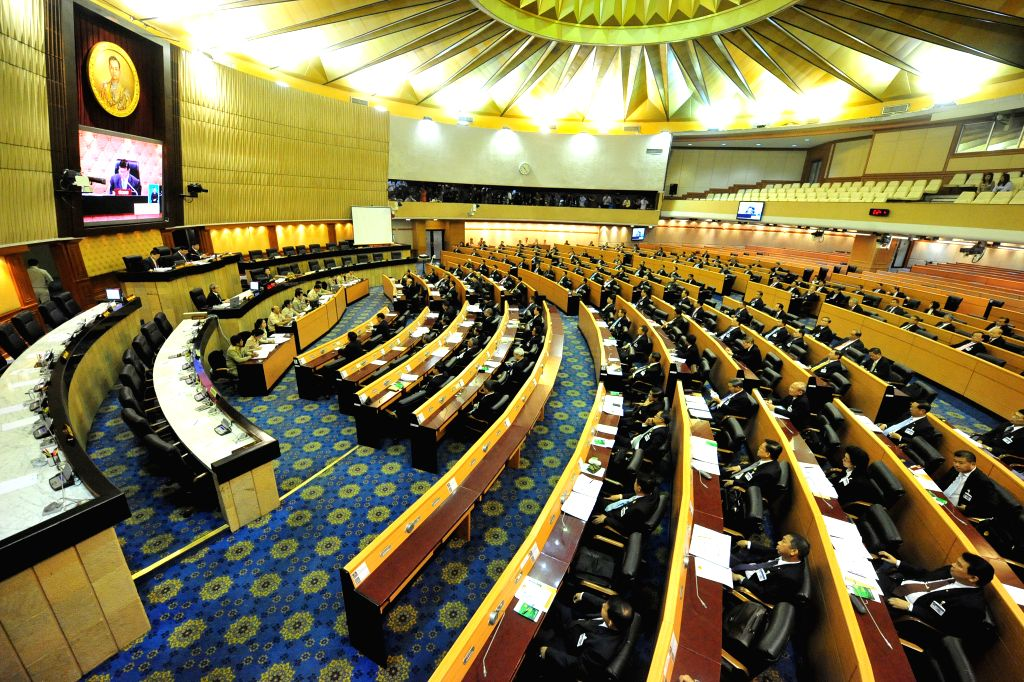 Picture taken on Aug. 21, 2014 shows a scene of Thailand's National Legislative Assembly (NLA) to vote for prime minister at Parliament House in Bangkok, Thailand. .