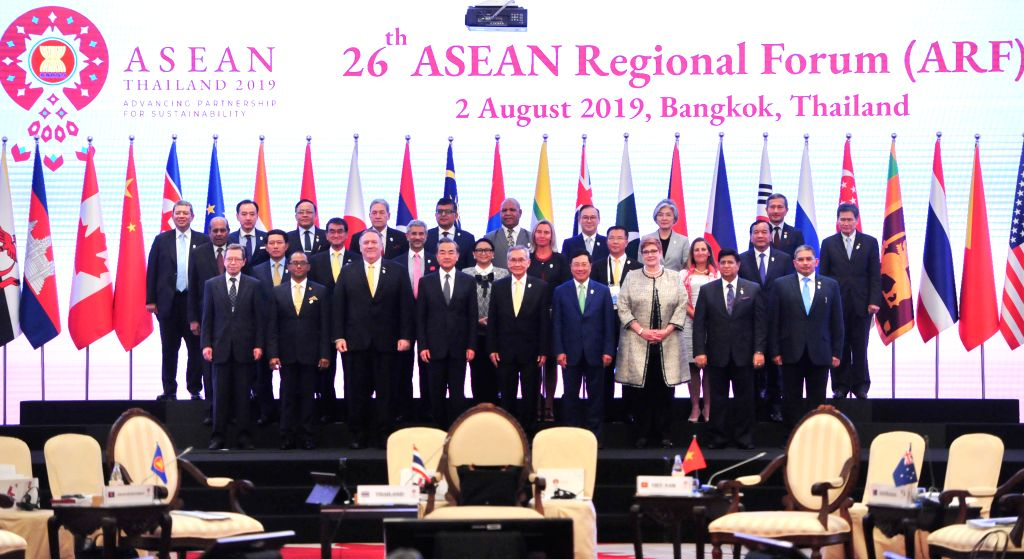 BANGKOK, Aug. 3, 2019 - Chinese State Councilor and Foreign Minister Wang Yi (4th L, front) attends the 26th ASEAN Regional Forum (ARF) Foreign Ministers' Meeting in Bangkok, Thailand, Aug. 2, 2019. - Wang Y