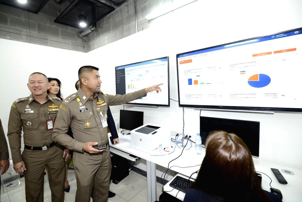 BANGKOK, Feb. 15, 2019 - Surachate Hakpal, Commissioner of Thai Immigration Bureau, looks over the real-time data of the new eVisa On Arrival (eVOA) service at the Suvarnabhumi Airport in Bangkok, ...