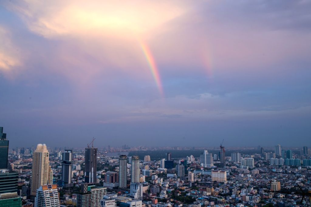 BANGKOK , Feb. 17, 2019 - A rainbow appears in the sky after rainfall in Bangkok, Thailand, Feb. 17, 2019. The rainfall helped to improve the air quality in Bangkok.