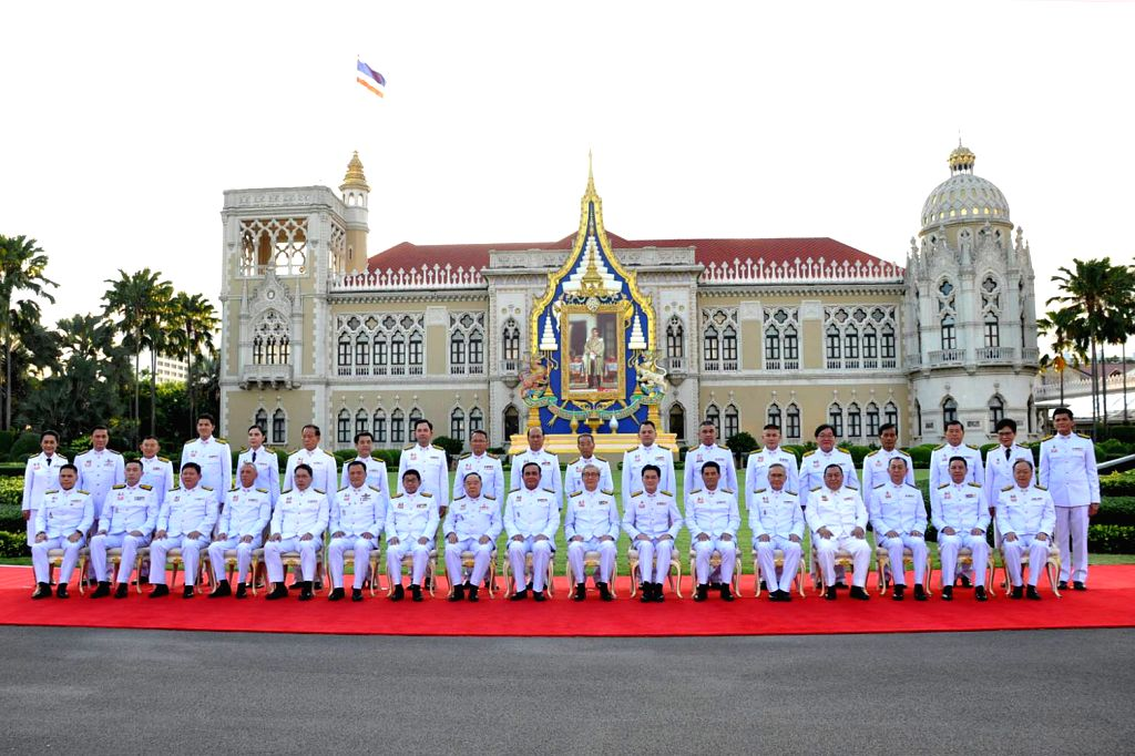 BANGKOK, July 17, 2019 - Thai Prime Minister Prayut Chan-o-cha and other newly-appointed cabinet ministers pose for a group photo in Bangkok, Thailand, July 16, 2019. Thailand's newly-appointed ... - Prayut Chan