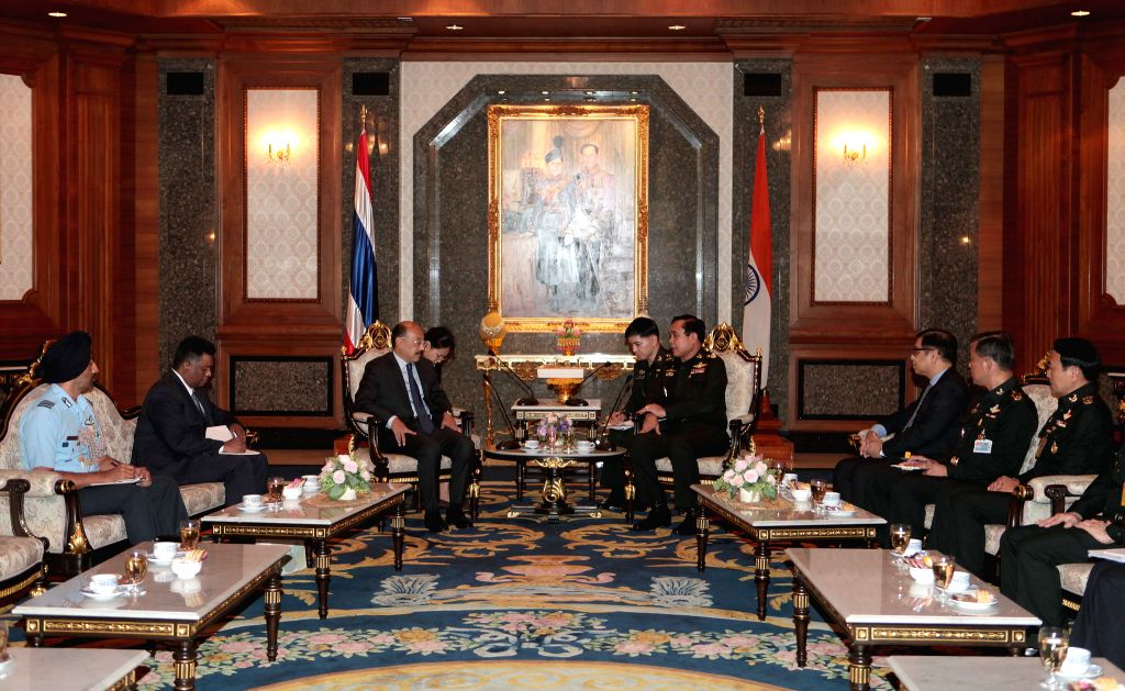 Thai army chief General Prayuth Chan-ocha (4th R) meets with Harsh Vardhan Shringla (3th L), Ambassador of India in Thailand at Thai Army headquarter in Bangkok, ...