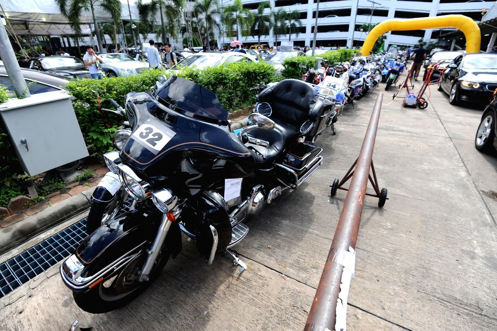 BANGKOK, July 6, 2017 - Seized luxury motor bikes are seen at the Thai Customs Headquarters in Bangkok, Thailand, July 6, 2017. A total of 300 seized luxury cars were auctioned on Thursday.